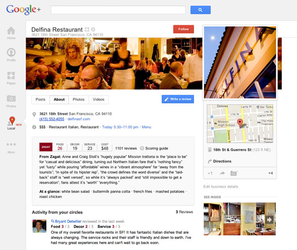 Google+ Local for businesses