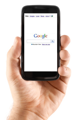Smartphone displaying Google search