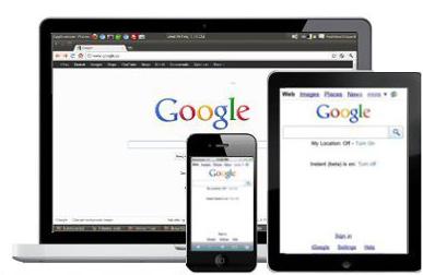 Google search engine on various devices